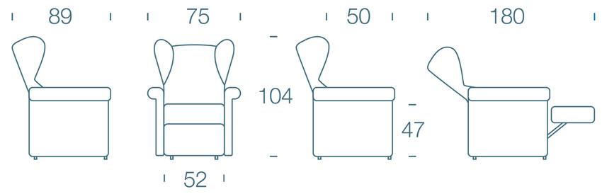 Dimensioni Poltrona Lucrezia 140