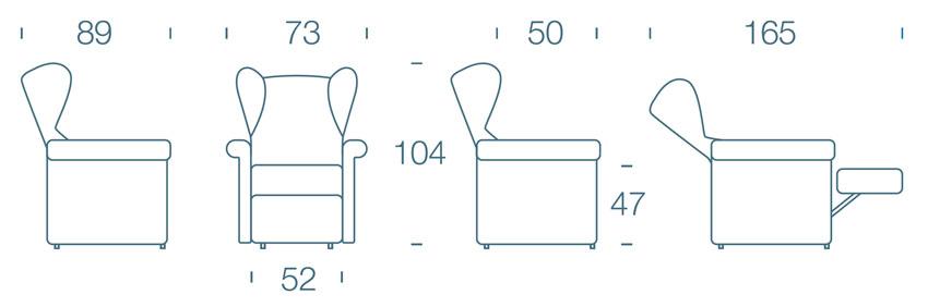 Dimensioni Poltrona Lucrezia 190
