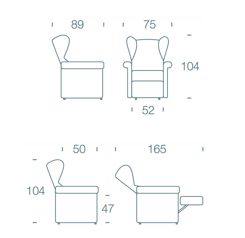 Misure poltrona relax modello 101